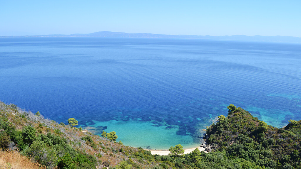 Blue sea in Greece, landscape from the top