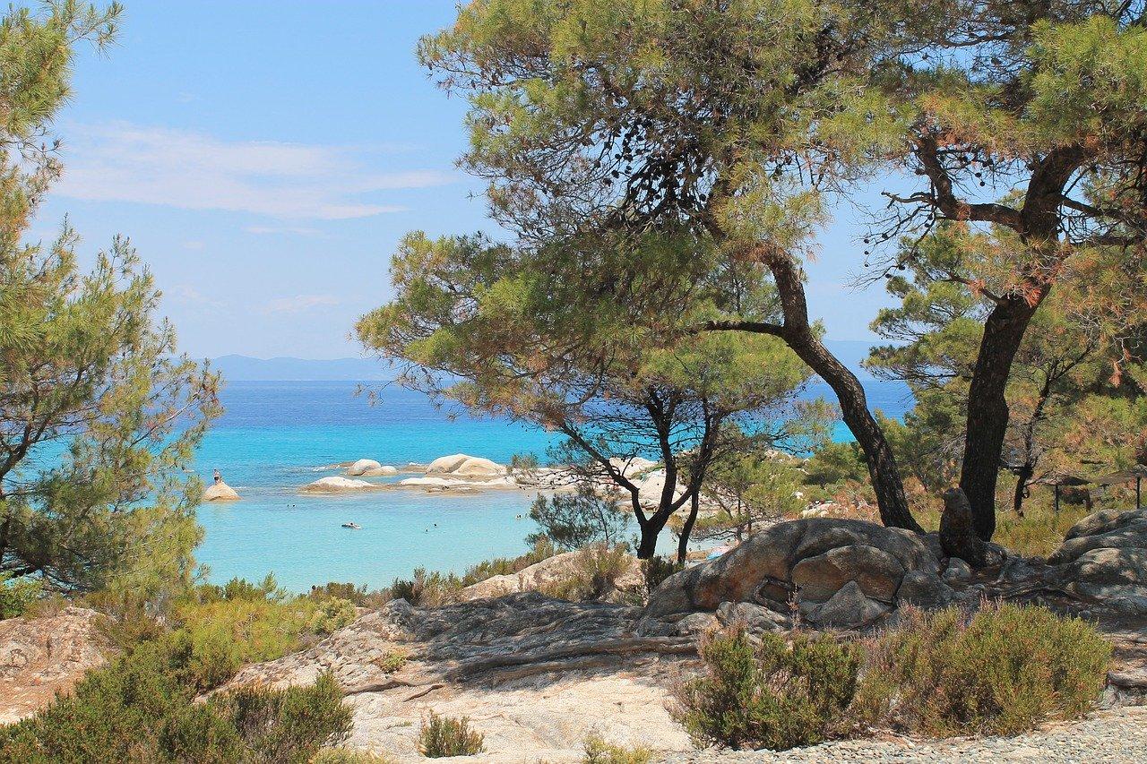 visit sithonia blue sea orange brach