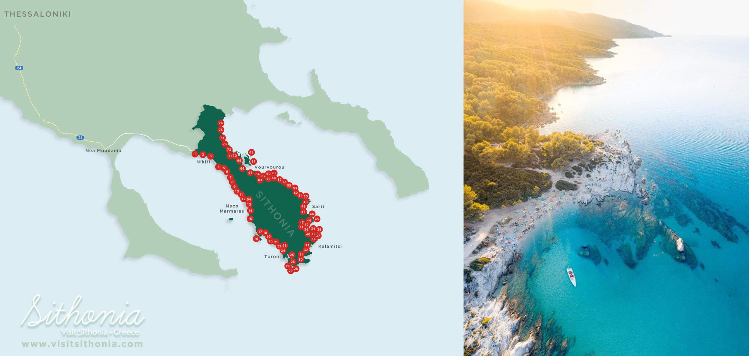 Sithonia beaches map