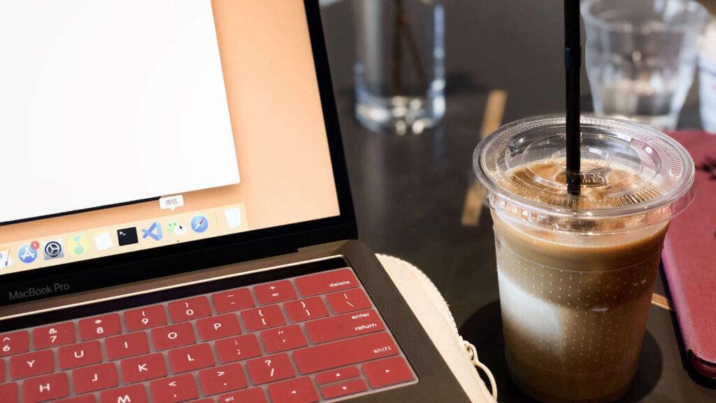 laptop with greek frape